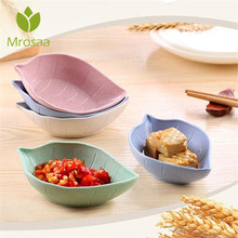 KCASA Wheat Straw Leaves Sauce Salt Dish Bowl Leaf Candy Snack Dish Baby Kid Rice Bowl Plate Tableware Food Fruit Container Box