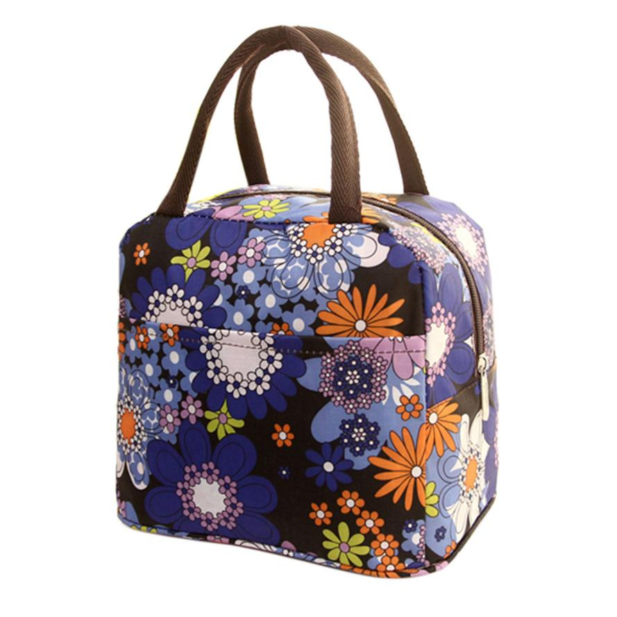 Portable Travel Picnic Storage Bag Floral Outdoor Insulated Thermal Lunch Bag Pouch Food Organizer Tote Shoulder Bag Handbag