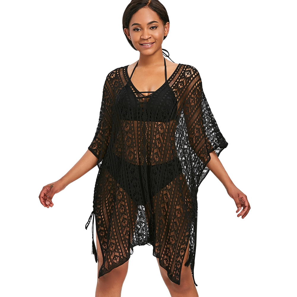 Asymmetric Knitted Tunic Beach Cover Up Solid Bikini Cover Up Swimwear Women Robe De Plage Beach Cardigan Bathing Suit Cover Ups