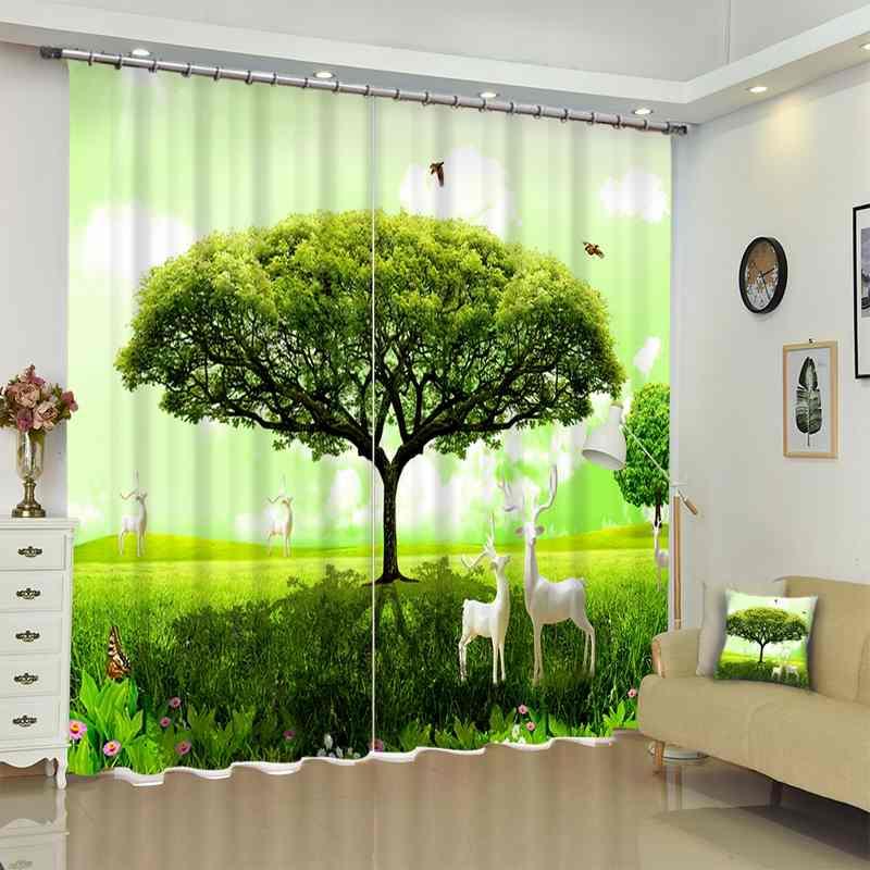 1 Set Blackout Vorhang Grün Baum Deer Bild 3D Druck Fenster Vorhänge Vorhänge Für Wohnzimmer Bett Zimmer Hotel Wandteppich
