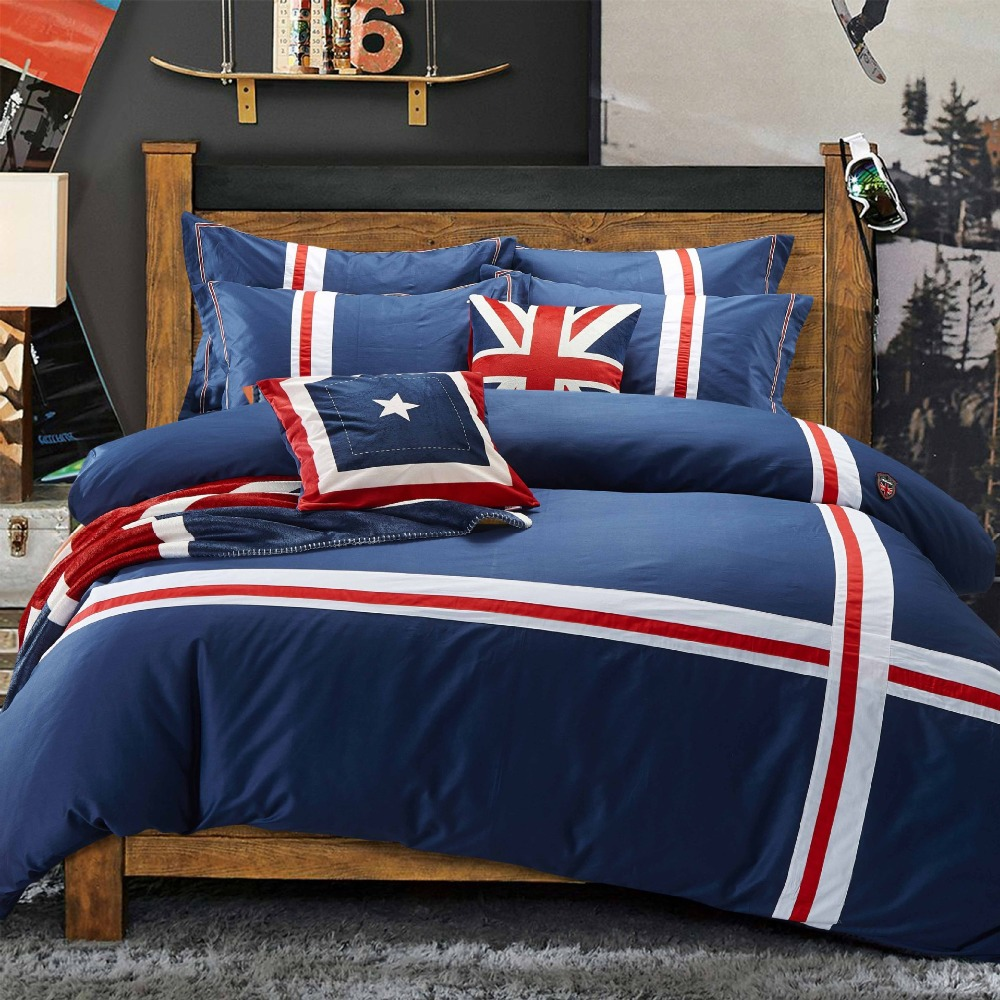 British Style Home Textile 100% Cotton 4PCs Bedding Sets
