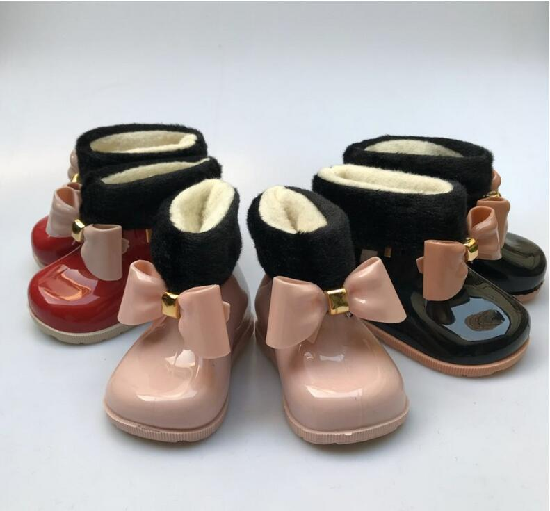 Baby Girls Rain Boots Baby Kids Rain Boots Warm Beauty Bow Rainboots Fashion Rubber Shoes Toddler Kids Jelly Shoes
