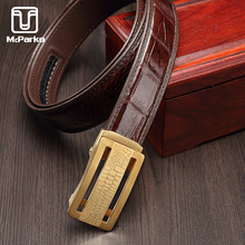 McParko Luxury Crocodile leather Belt For Men Fashion Stainless Steel buckle free belt Gold Automatic Waist Genuine Leather