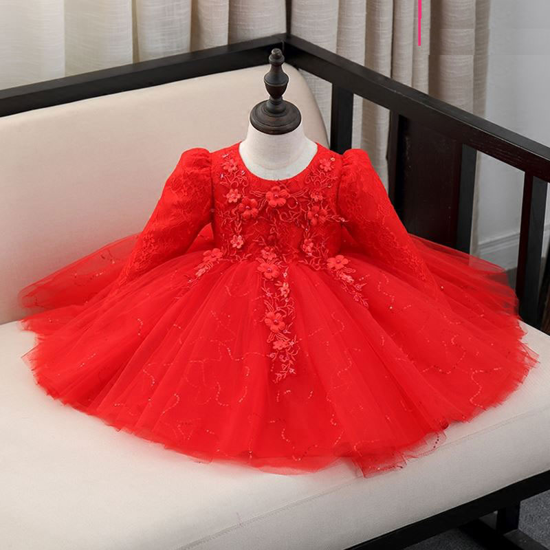 51ea9a5343 Top Quality Sequin Red/White/Pink baby girls 1 year old birthday dress long  sleeve appliques baptism christening wedding gown-in Dresses from Mother &  ...