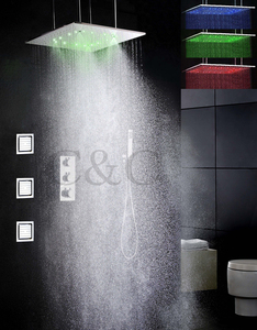 Thermostat Bathroom Shower Faucet Set 20 Inch Two Functions Atomizing And Rainfall LED Temperature Sensitive Shower Head