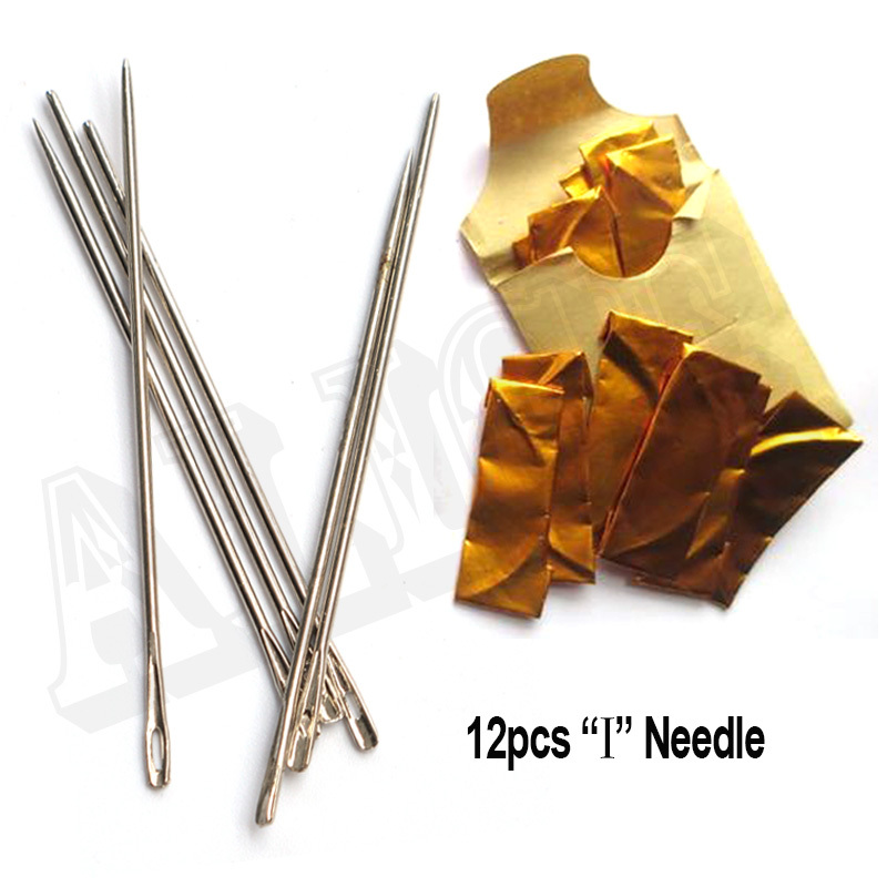 12pcs I Curved Sewing Needle Weaving Needle Straight Sew In Needle For Weave