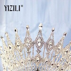 Image 5 - YIZILI חדש יוקרה גדול הכלה חתונה כתר ריינסטון מדהים קריסטל גדול עגול מלכת כתר חתונה שיער אביזרי C070