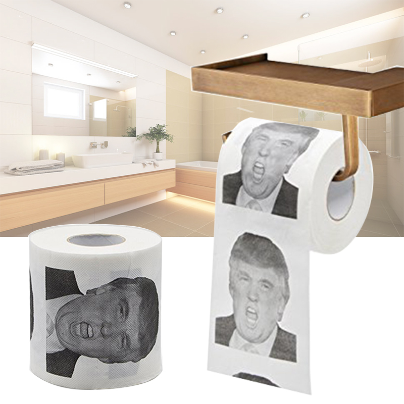 Donald Trump Humor Outdoor Multifunction Toilet Paper Roll Novelty Interesting Gag Gift Dump With Trump