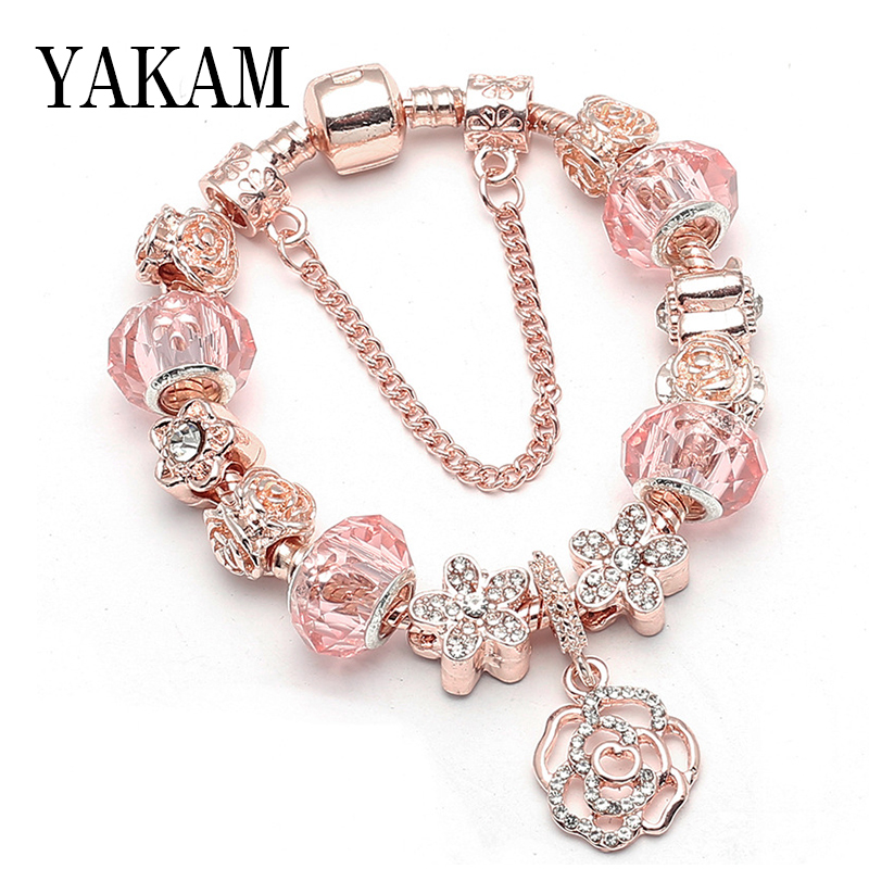 Pink Round Flower Bead Charms Bracelet for Women Snake Safe Chain Rose Gold Color Magnolia Friendship Bracelets Fashion Jewelry