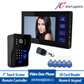 "Multi-functional door intercom wired video door phone 7"" door monitor support swiping RFID card, remote controller & password"