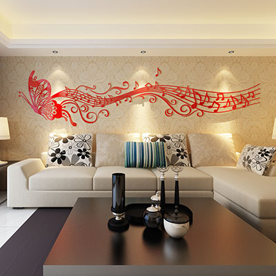 New Arrival Music Butterfly Acrylic Three Dimensional Wall Stickers Crystal Musical Notes Tv Sofa Background