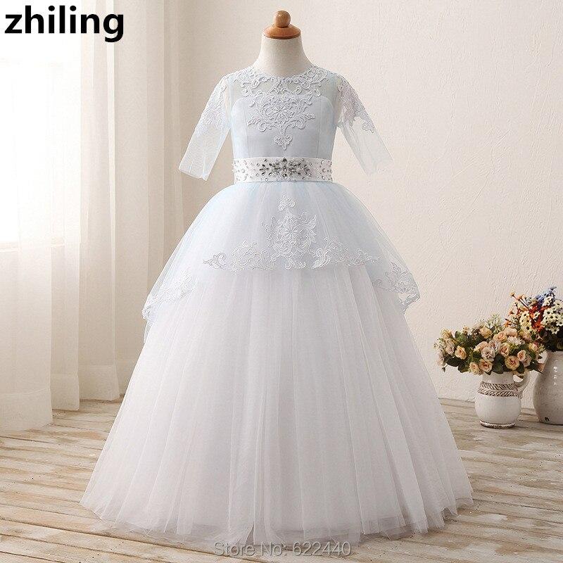 Half Sleeves Flower Girl Dresses Beaded Belt Little Girls Pageant Dress Ball Gown Girls First Communion Dress