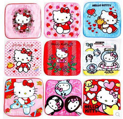 10 Pcs Mixed Colors Hello Kitty Multifunctional Use Baby Girl Towel Women Hand Towel Size 15*15CM 4~7 Colors Now