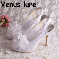 4 inch White Bridal Shoes Slingback Lace Summer Flower Sandals Open Toe