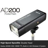 AD200 ttl 2,4 г HSS 1/8000 s Карманный вспышки света двойной головкой 200Ws с 2900 мАч литиевых Батарея фонарик вспышки
