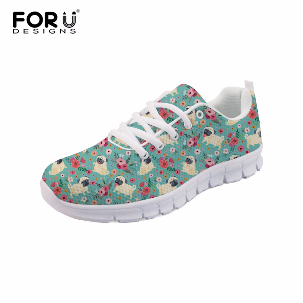FORUDESIGNS Girl Tennis Shoes Female Sneakers Breathable Air Mesh Lace Pug Dog Printed Womens Sneakers Sport Shoes for Ladies
