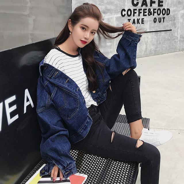 2018 Fashion Bawing Sleeve BF Denim Back Buttons Short Jacket Jeans Spring Lagenlook Womens Loose Coats Jean Plus Size Outerwear 1