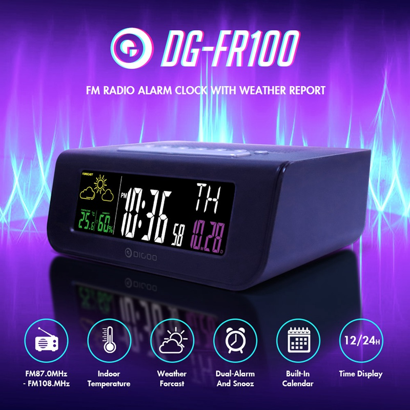 Digoo DG-FR100 SmartSet Wireless Digital Alarm Clock Weather Forecast Sleep with FM Radio Clock Mutifunctional Colorful Screen digoo dg th1177 th1177 wireless digital