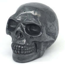 Skull Figurine Natural Stone Hematite Crystal Carved Statue Realistic Feng Shui Healing Ornament Art Collectible 2
