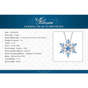 Image 5 - JPalace Snowflake Natural Topaz Pendant Necklace 925 Sterling Silver Gemstones Choker Statement Necklace Women No Chain