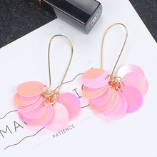 SUKI Korean Fashion Personality Mermaid Scales Earrings Sweet Exaggeration Influxes Sequins Laser Crystal Lady