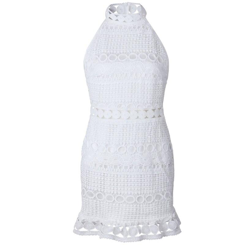 KLV 2018 New Women Summer Short Sleeve High Neck Lace Patchwork Hollow Party Dress
