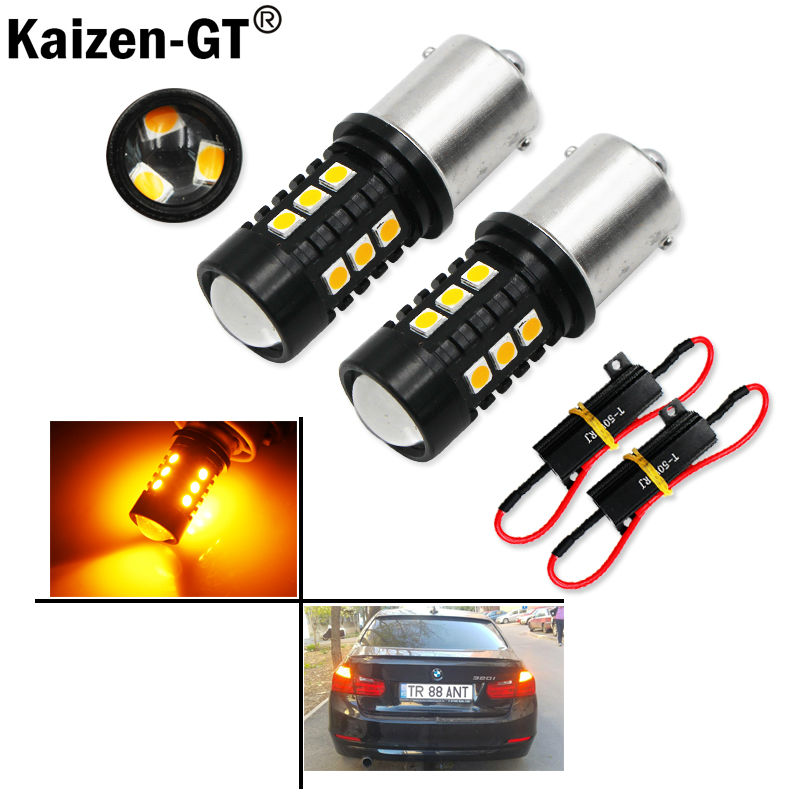 2pcs Error Free Amber Yellow 1156 7506 P21W BAU15S 7507 PY21W 1156PY 21W LED Bulbs For car Front or Rear Turn Signal Lamps ijdm no hyper flash 21w high power amber bau15s 7507 py21w 1156py led bulbs for car front or rear turn signal lights canbus 12v