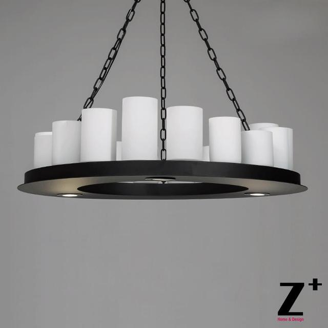 Led Industrial Vintage Pillar Candle Round Chandelier Wrought Iron Metal E27 Free