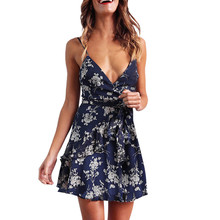 Srogem Spring Summer Floral Printed Sequined Mini Casual Dress Women Sexy Sheath Party Club Deep V Dresses Slashes Vestidos 5