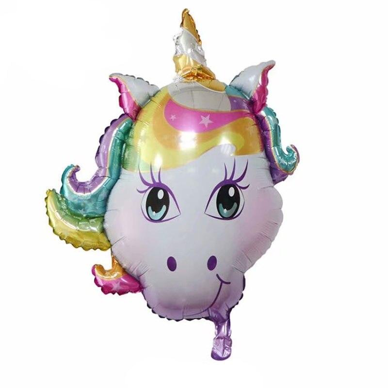 New front unicorn head aluminum balloon Children's holiday Wedding decoration toy Self sealing