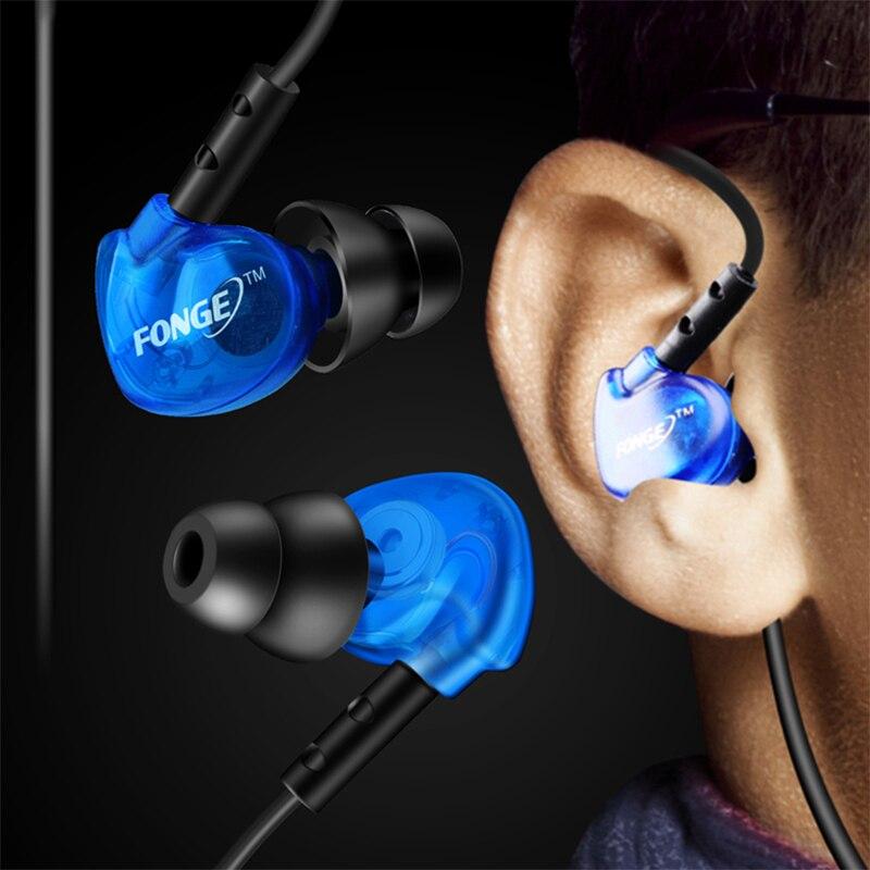 Fonge Waterproof Earphones In Ear Earbuds HIFI Sport Headphones Bass Headset with Mic for xiaomi Galaxy s6 smart phones 6