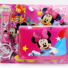 Minnie mickey kids Sets watch and wallet purse wrist quartz Christmas Children g