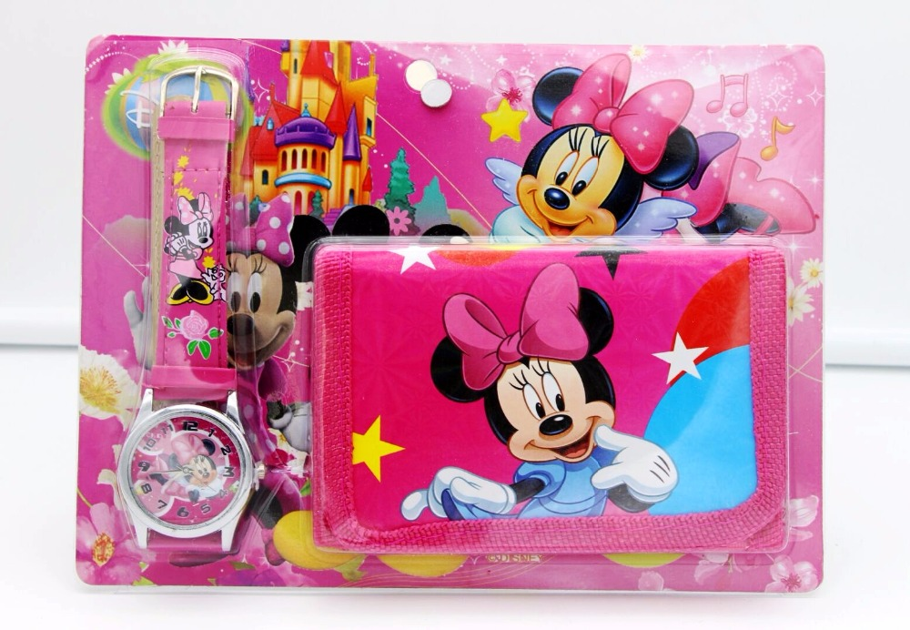 Minnie Mickey Kids Sets Watch And Wallet Purse Wrist Quartz Christmas Children Gift Cartoon Watches Students Watches
