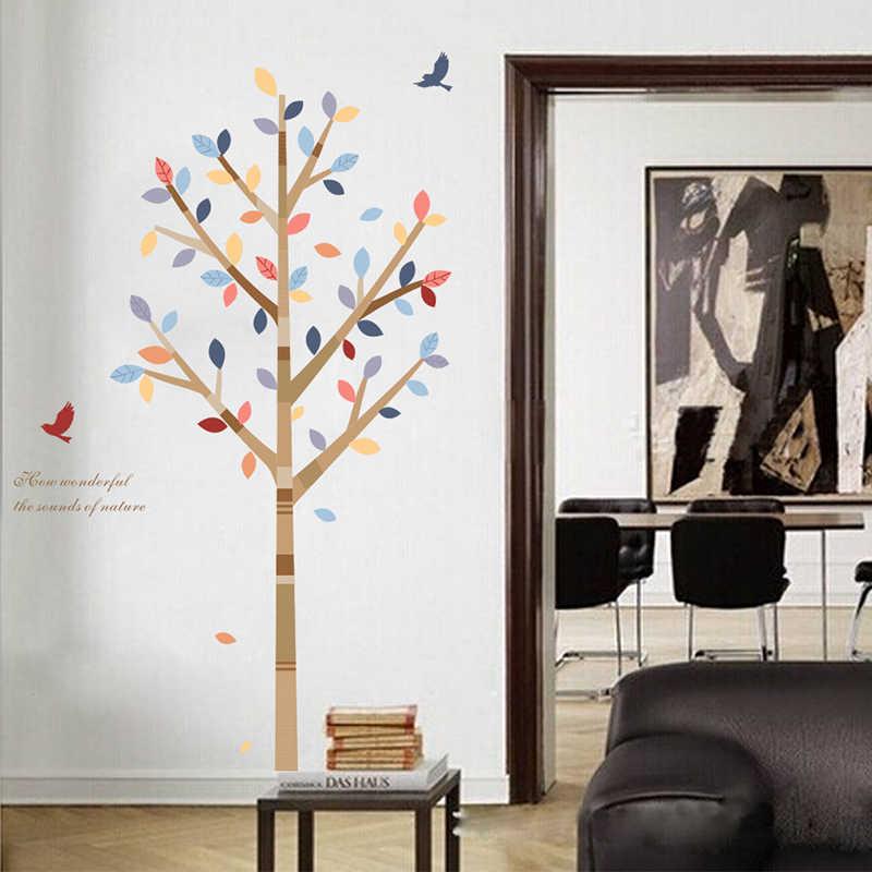 Natureza Floresta Árvore do Pássaro Adesivos de Parede Restaurante Café Decoração do Quarto Sala de TV Sofá Fundo Decoração Da Parede Arte DIY Decalque