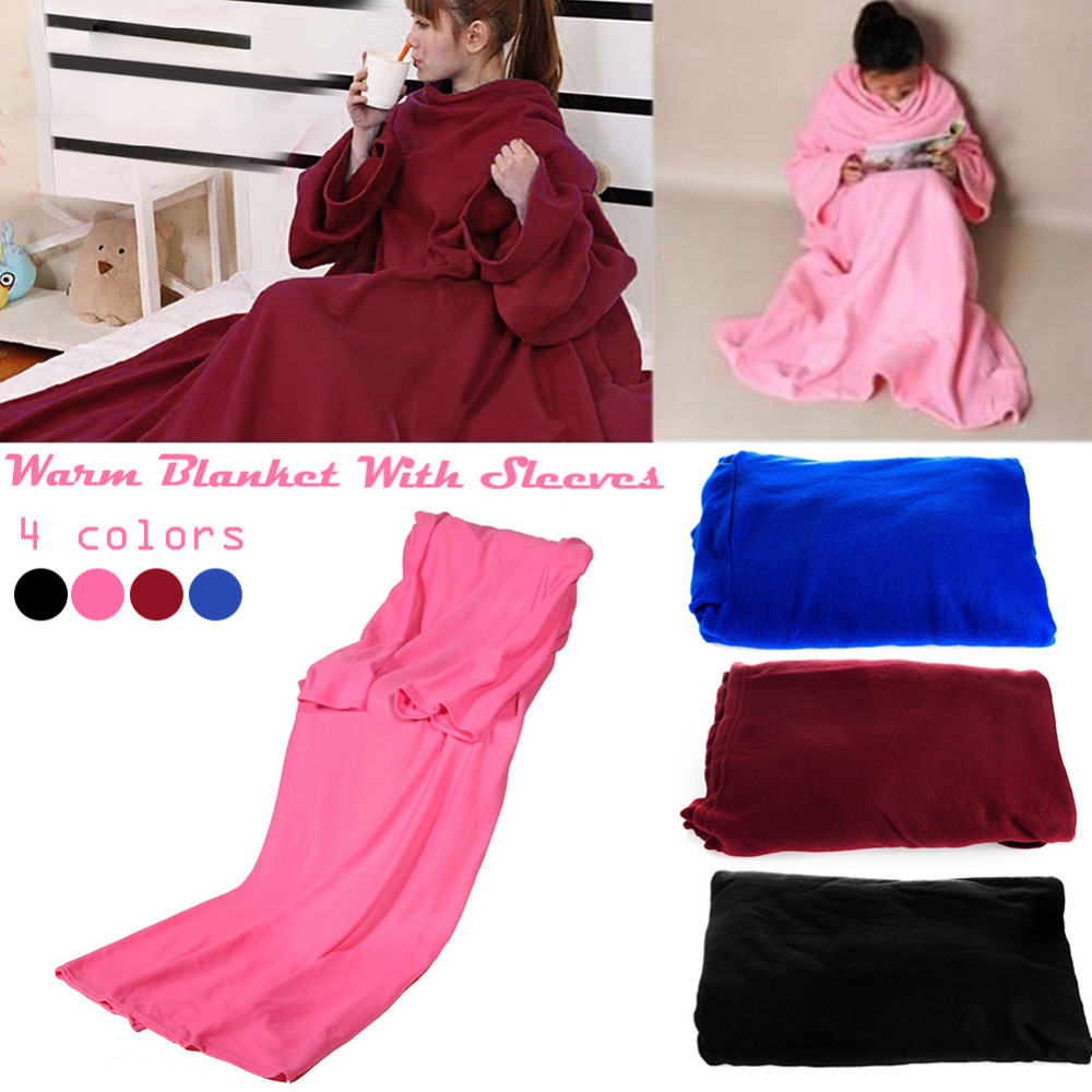 Us 9 76 20 Off Creative Warm Blanket With Sleeves Thicker Spring Autumn Winter Wearable Keep Fleece Seen On Tv Sofa Blankets In