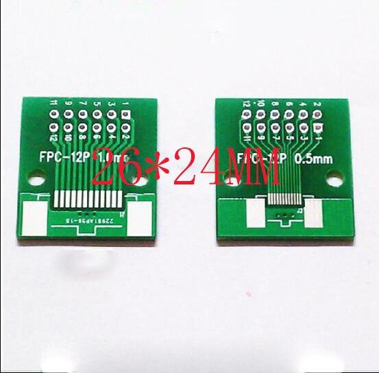 Бесплатная доставка 100 шт. FFC FPC 12 P плата адаптера для DIP 2.54 TFT ЖК-панель 1 мм 0.5 мм шаг двухсторонней pcb