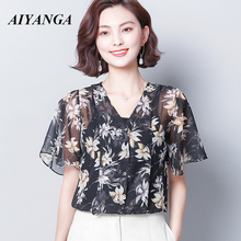 2019 Fashion Women Chiffon Blouse Top Femme Print Shirt Muje