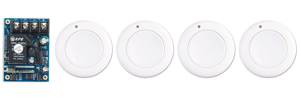 New DC12V 24V 36V 48V 10A 1CH Wireless Remote Control Switch System Receiver & 4*White wall Panel Sticky Remote