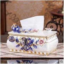 Europe creative ceramic flowers tissue box home decor crafts room decoration paper holder Case Box wedding