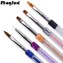 Moglad 1 Pcs Colorful Rhinestones Nail Art Pen Gradient Nail Brush 3D DIY Design UV Gel Polish Drawing Liner Carved Nail Tools
