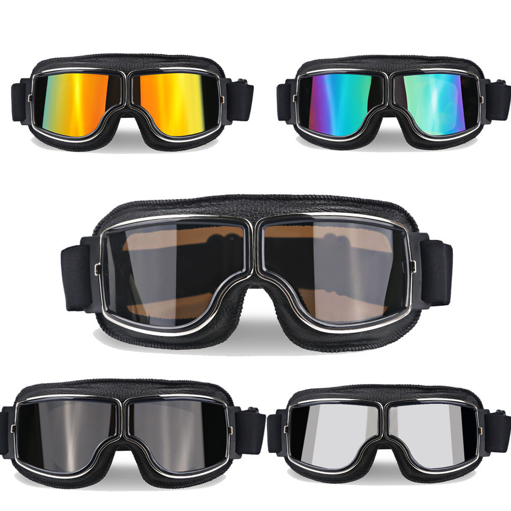 Clear Vintage Motorcycle Goggles Glasses Retro Motor Bike Goggles Protective UV Protection