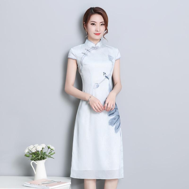 2019 rétro chinois traditionnel qipao femmes dentelle mousseline de soie cheongsam femme à manches courtes imprimé fleur améliorée cheongsam robe