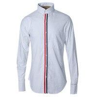 Элитный бренд Мужская одежда Рубашки для мальчиков модные Дизайн Для мужчин полоску Шитье Slim Fit Рубашки для мальчиков с длинными рукавами ...