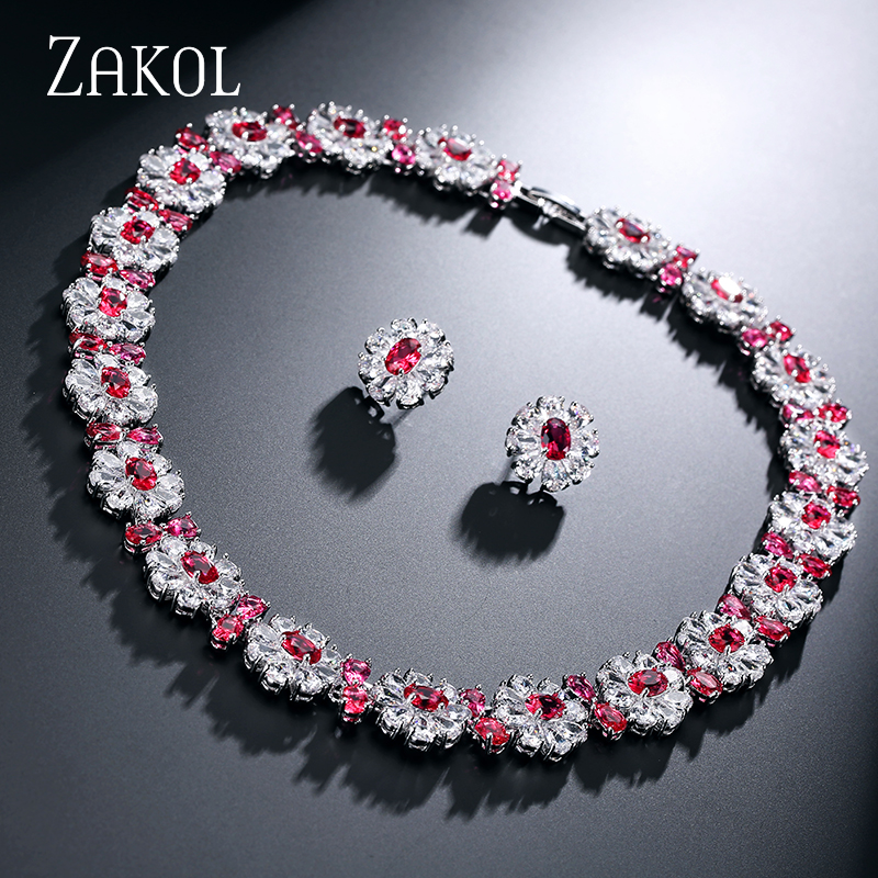 ZAKOL 4 Color Option Cubic Zirconia White Gold Plated Jewelry Sets Classic Flower Shape Gift For