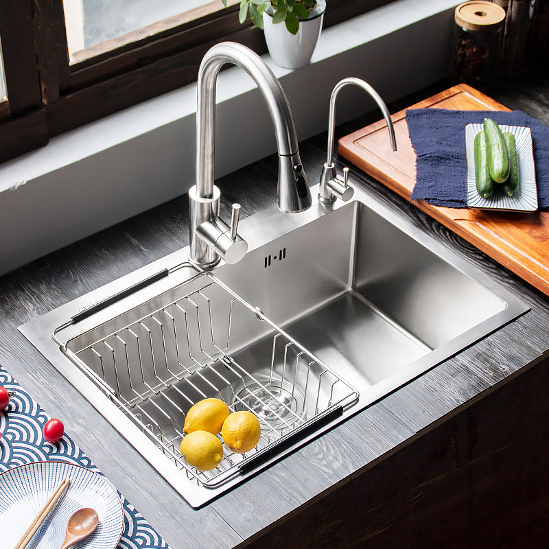 kitchen sink 304 stainless steel single bowl Handmade brushed seamless with gifts 450x390x200mm 304 stainless steel kitchen sink brushed single bowl slot vegetable trough tank with faucet basket drain assembly