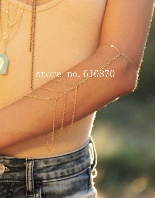ac541273877 2014 Fashion Women Upper Arm Bracelet Arm Chain Harness Sexy Chunky Body  Chain Arms Cuff for