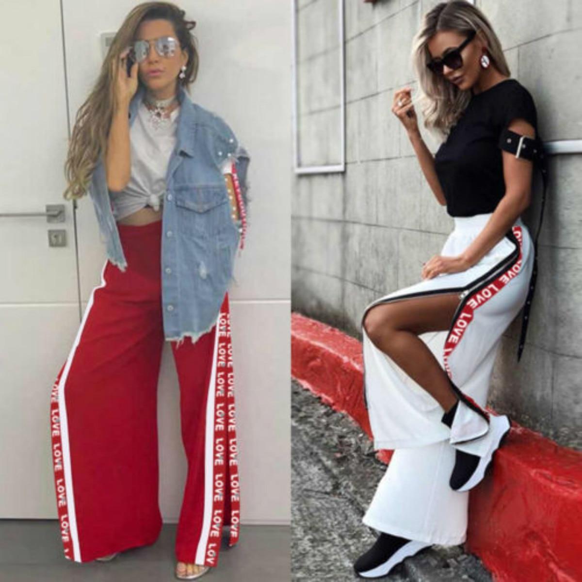 Wide     Leg     Pants   2018 New Brand Women High Waist Zipper Split Baggy Casual Loose   Wide     Leg   Casual   Pants   Trousers