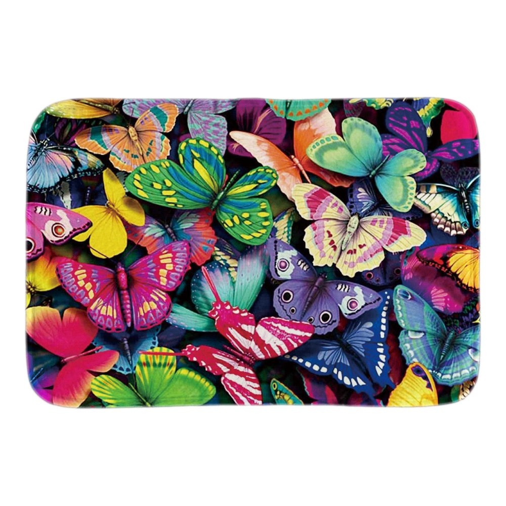 Colorful Butterflies Doormat Art Painting Door Mats For Living Room Bedroom Soft Light Short Plush Fabric Indoor Outdoor Mats