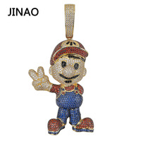 JINAO Fashion AAA CZ Cubic Zircon Gold Super Mario Iced Out Chain Pendant Necklace Hip Hop Jewelry Statement Necklaces Men Gifts