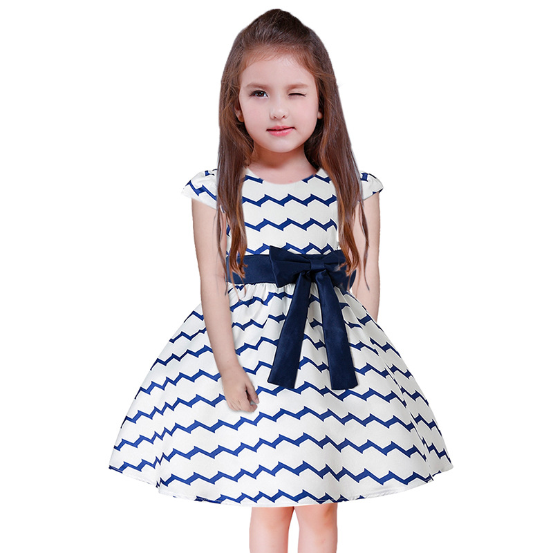 O-Neck Baby Girls Spring Autumn Bow Tied Clothes Wholesale Boutiques Children Striped Clothing Ruched Princess Dresses 7pcs/LOT